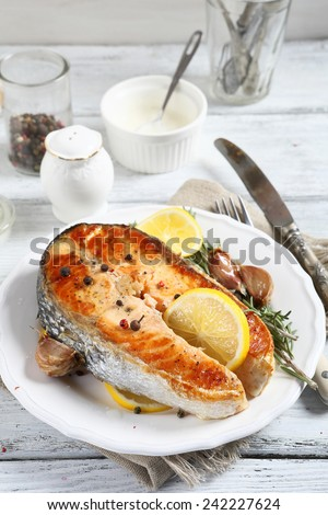 Baked salmon on a plate, food