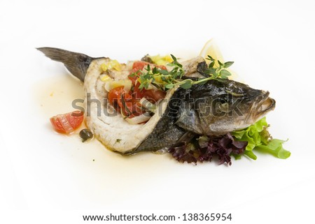 baked sea bass stuffed with vegetables