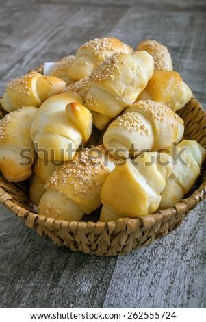 Baked small bread like snacks - stock photo