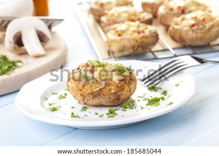 Baked stuffed mushrooms with cheese