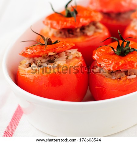 Baked Tomatoes Stuffed with Rice and Beef Mince, square, copy space for your text - stock photo