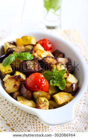 Baked vegetables in a tin