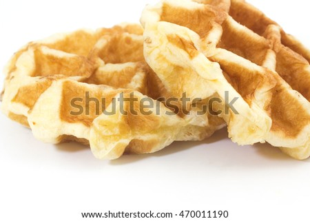 baked waffle on a white background