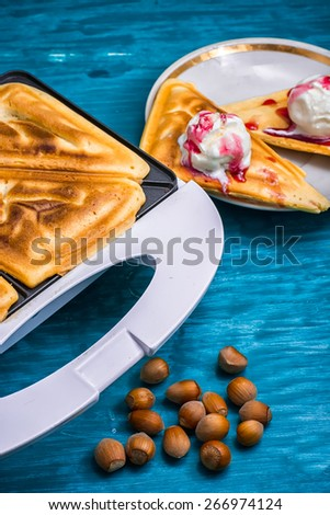 baked waffle pecan coconut dessert with appendices ice cream.Selective focus - stock photo