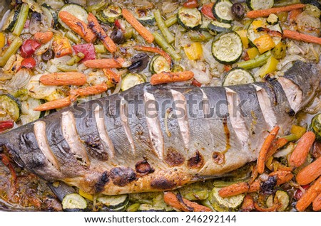 baked wild salmon with a variety of vegetables - stock photo