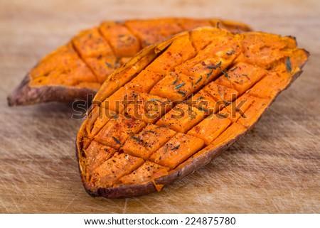 baked yam sweet potato - stock photo