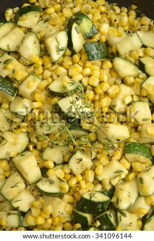 Baked zucchini corn as food background