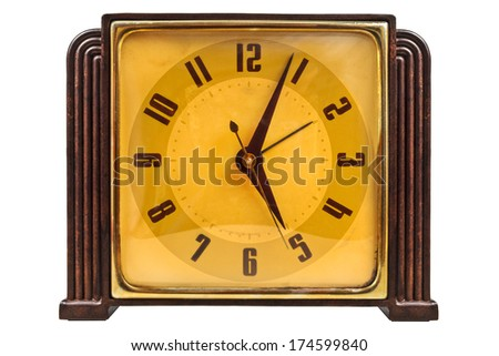 Bakelite art deco pendulum clock isolated on a white background - stock photo