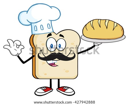 Baker Bread Slice Cartoon Mascot Character With Chef Hat And Mustache Holding A Bread. Raster Illustration Isolated On White