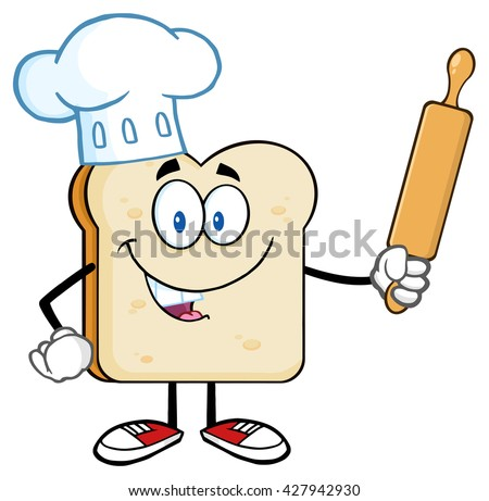Baker Bread Slice Cartoon Mascot Character With Chef Hat Holding A Rolling Pin. Raster Illustration Isolated On White