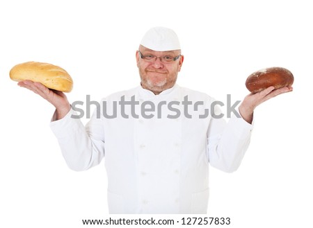 Baker holding two kinds of bread. All on white background.