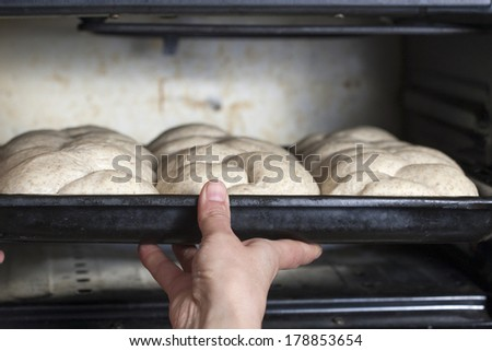 Baker preparing bread - stock photo