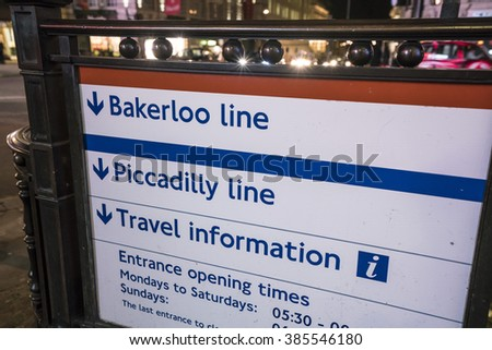 Bakerloo and Piccadilly line sign LONDON, ENGLAND - FEBRUARY 22, 2016