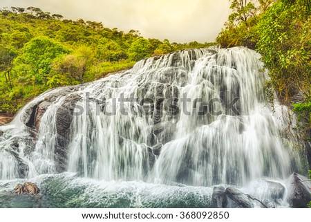 Bakers falls. Horton plains national park. Sri Lanka. - stock photo