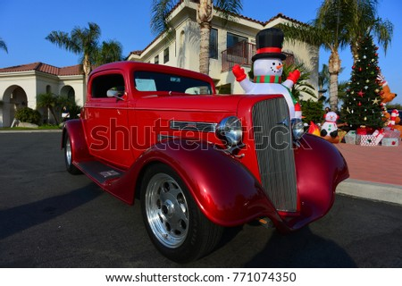 BAKERSFIELD, CA - DECEMBER 2, 2017: A very nice custom coupe based on the 1930s era Chevrolet makes an appearance at the Outlawz Car Club automobile show.