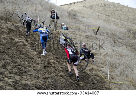 BAKERSFIELD, CA - JAN 22: Female contestants dismount and cary their bikes up a steep hill during the California State Cyclocross Championships on January 22, 2012, in Bakersfield, California. - stock photo