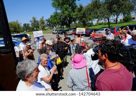 "BAKERSFIELD, CA-JUN 15: The group, ""Nuns on a Bus"", arrives to join in the march to Rep. Kevin McCarthy's office in support of a new immigration law on June 15, 2013, in Bakersfield, California."