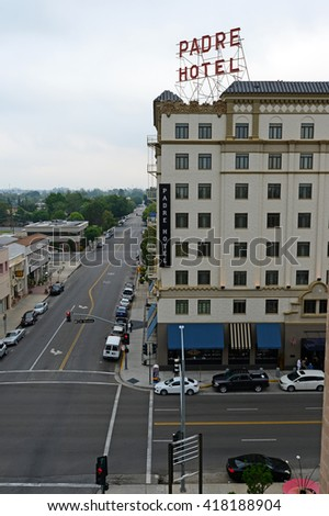 BAKERSFIELD, CA - MAY 8,2016: The landmark Padre Hotel was constructed in 1928. Recently renovated, it now accommodates guests with elegant rooms and fine dining. - stock photo