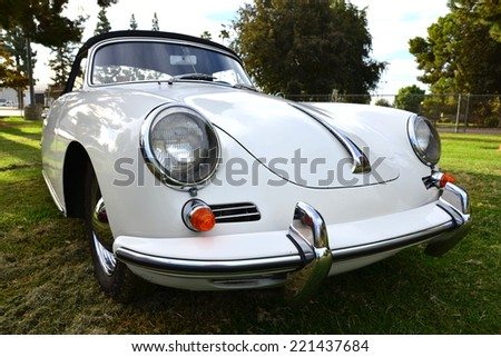 BAKERSFIELD, CA - OCTOBER 4, 2014: Today this original 1962 model 356 convertible is on display to compete in the local Porsche Club Concours and Display. - stock photo