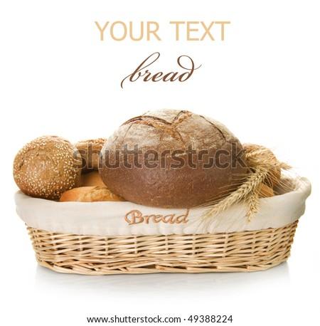 Bakery Bread over white - stock photo