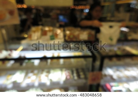 Bakery cafe shop interior blur abstract background concept