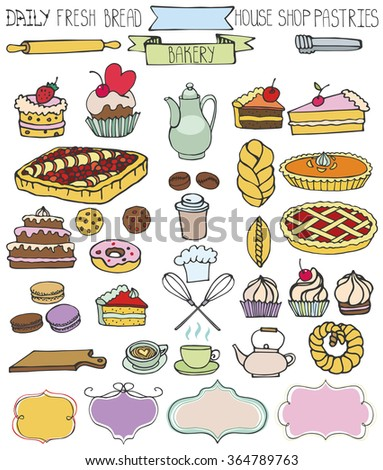 Bakery DoodleSweet Cakes And Pastries Icons Set With Tablewarebadges Decor Colored