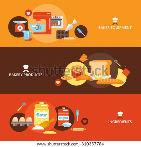 Bakery flat banner set with products ingredients baker equipment isolated  illustration. - stock photo