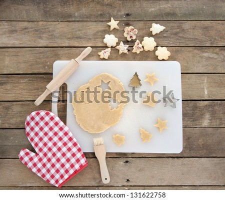 bakery ingredients on an old wooden table - stock photo