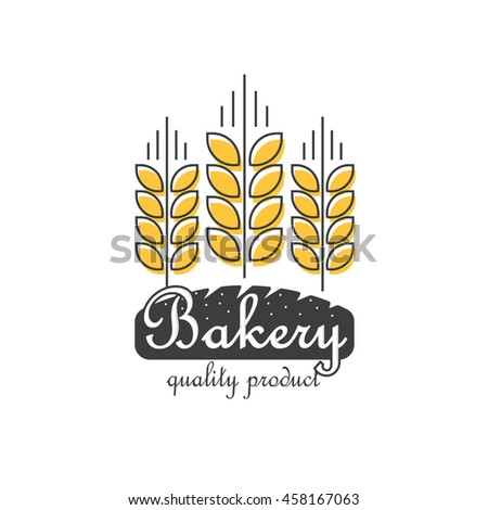 Bakery logo template isolated on white background, flat thin line style outline bakery food logotype with wheat and bread shape, modern creative trendy design image