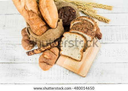 bakery on wood white background