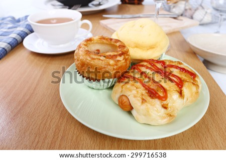 Bakery products and cup of tea
