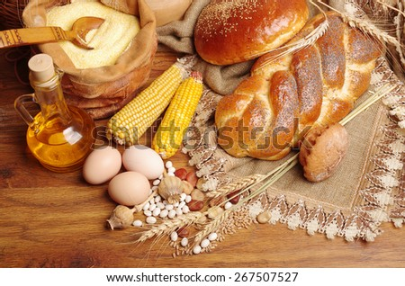 Bakery products, corn, eggs