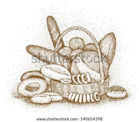 Bakery products hand-drawn illustration - stock photo