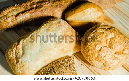 Bakery products on old wooden table