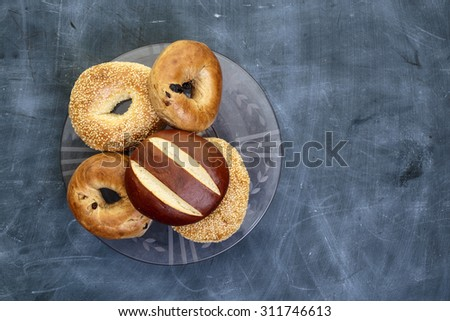Bakery products photographed from above with copy space on side.