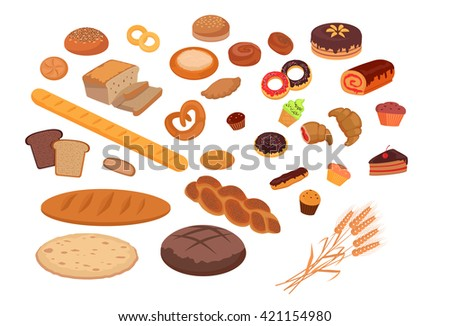 Bakery products set flat design. Bread and bakery shop, cake and baking, pastry cupcake products, roll and donut, product food bakery, breakfast  illustration