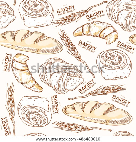 Bakery seamless pattern fresh bread and buns ears of wheat hand drawn