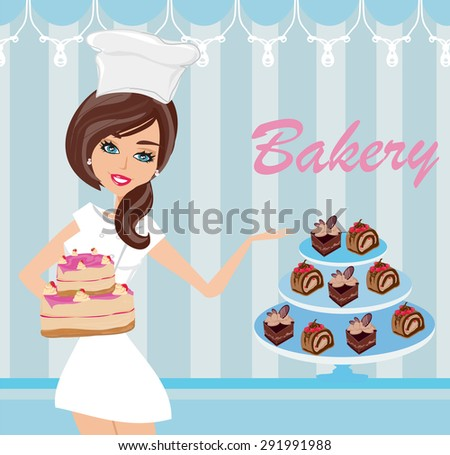 bakery store - saleswoman serving cakes - stock photo