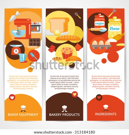 Bakery vertical banner set with premium goods bread daily fresh pastries isolated  illustration - stock photo