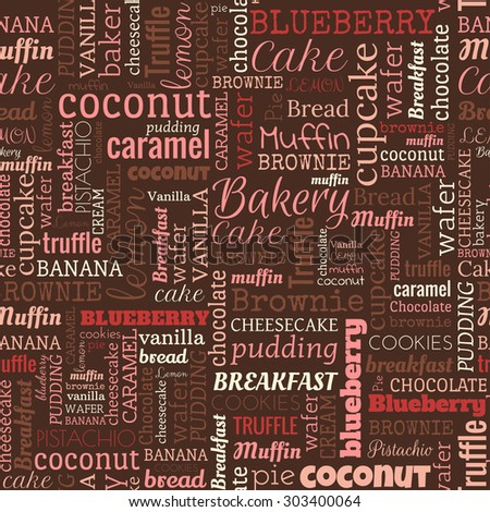 stock photo bakery words tags seamless pattern on the brown background 303400064 - Каталог — Фотообои «Еда, фрукты, для кухни»