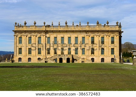 BAKEWELL, DERBYSHIRE, ENGLAND - APRIL 14: View of Chatsworth House, an historic English Stately Home in the Derbyshire Dales. At Chatsworth House, Bakewell, England on 14th April 2015.