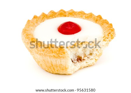 Bakewell tart with a missing bite over white - stock photo