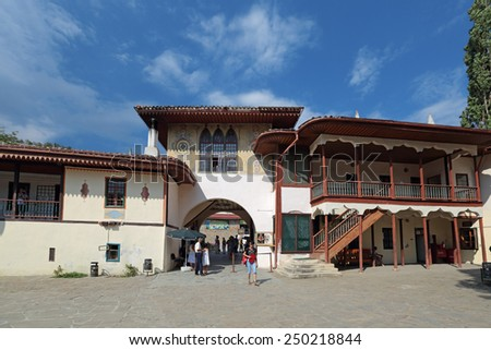 BAKHCHISARAY, REPUBLIC CRIMEA, RUSSIA - AUG 12, 2014: The interior of the Bakhchisaray Palace (Hansaray) the residence of the Crimean khans XVI century. The main entrance of the North gate