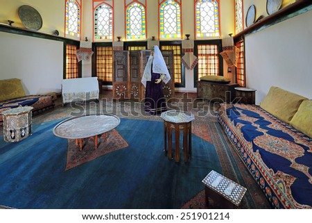 BAKHCHISARAY, REPUBLIC CRIMEA, RUSSIA - AUG 12, 2014: The interior of the Bakhchisaray Palace (Hansaray) the residence of the Crimean khans XVI century. Harem, living room - stock photo