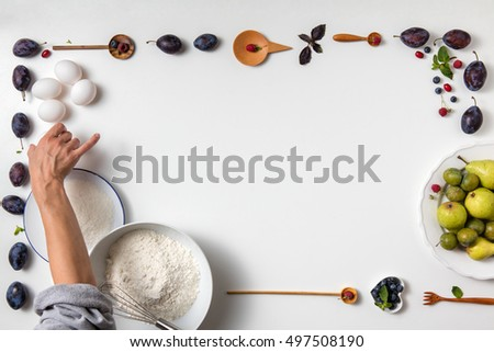 Baking background with ingredients for fruit