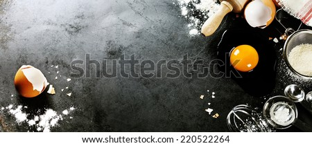 baking background with raw eggs, sugar and flour - stock photo