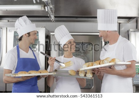Baking bread in an industrial restaurant kitchen or bakery