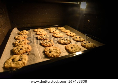 Baking Chocolate Cookie in the Oven - stock photo