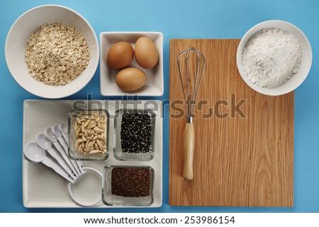 Baking cookie in kitchen - cookie recipe ingredients - stock photo