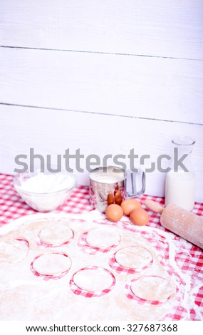 Baking donuts in kichen table - stock photo